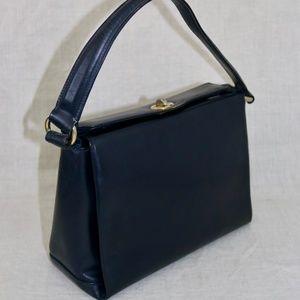 GUCCI Blu Leather Vintage Satchel handbag ITALY